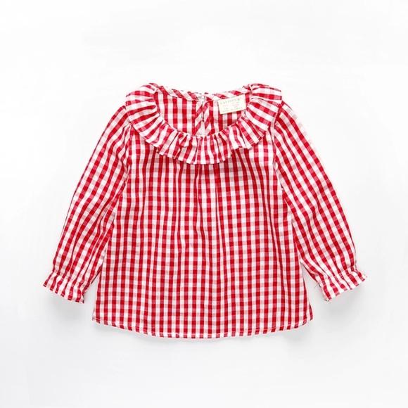 8742aa82e Shirts & Tops | Beautiful Baby Girls Long Sleeve Red Shirt Top ...